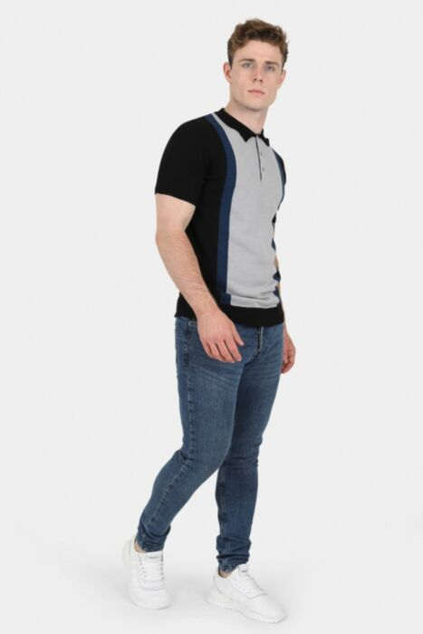 Black Colour Block Knitted Polo