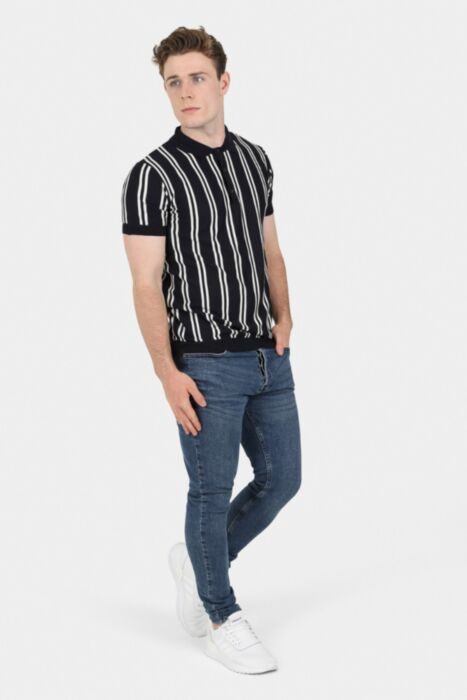 Black Stripe Knitted Polo