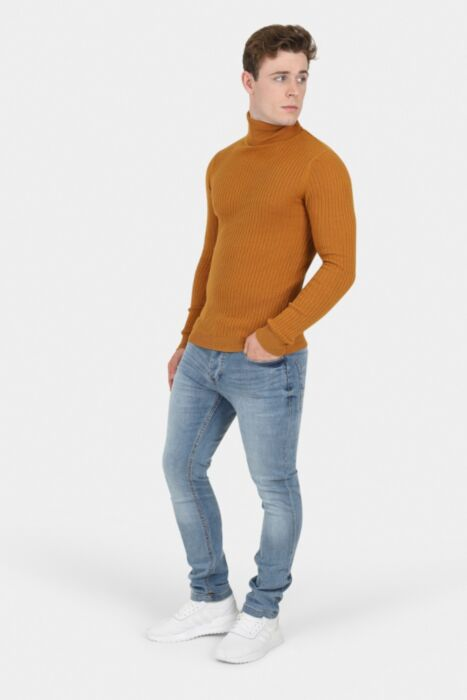 Camel Muscle Fit Ribbed Roll Neck