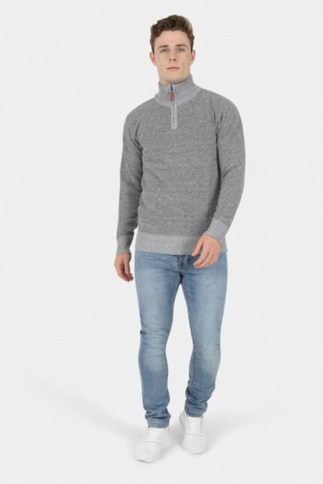 Merino Half Zip in Grey