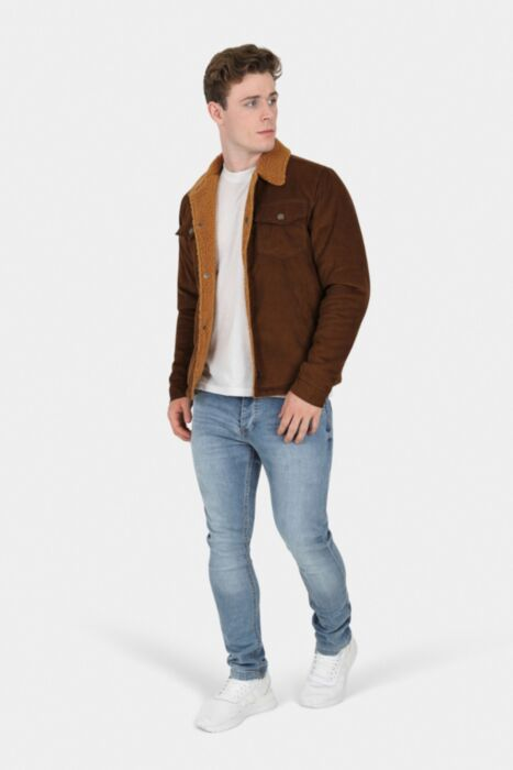 HisColumn Design Soft Cotton Jacket with Borg Lining in Brown