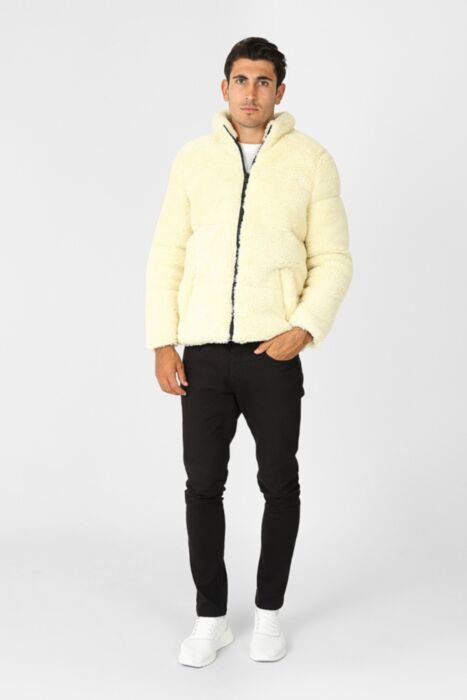 Borg Puffer Jacket in Cream