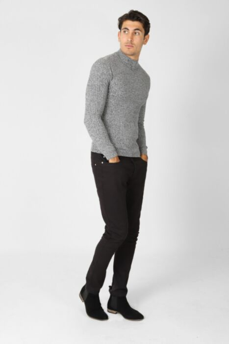 HisColumn Design muscle fit turtle neck jumper in grey