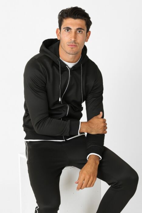 Court Line Tracksuit in Black - Hoody