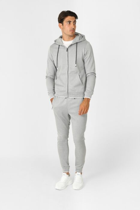 Court Line Tracksuit in Light Grey - Hoody