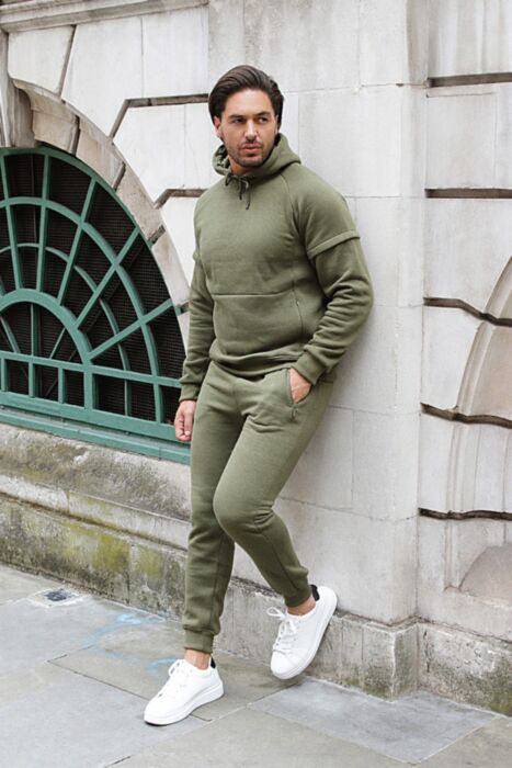 Invisible Zip Tracksuit in Olive
