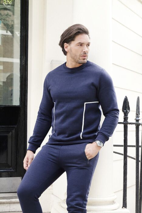 Lined Panel Crewneck Tracksuit in Navy
