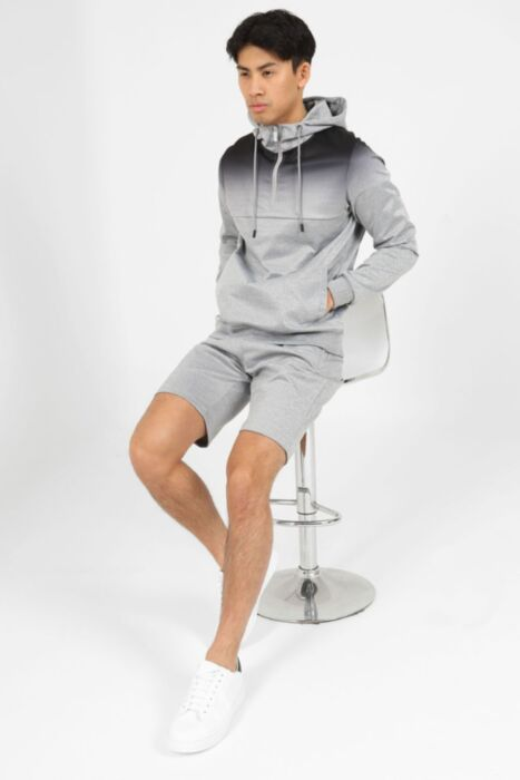 Half Zip Melange Short Set in Grey