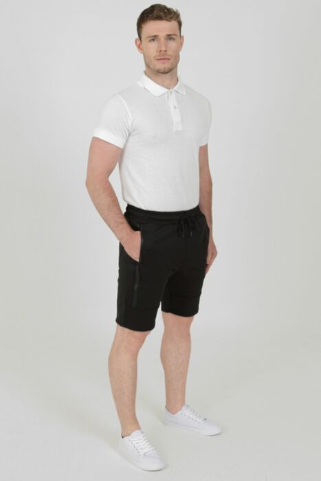 Shorts with Waterproof Zip in Black