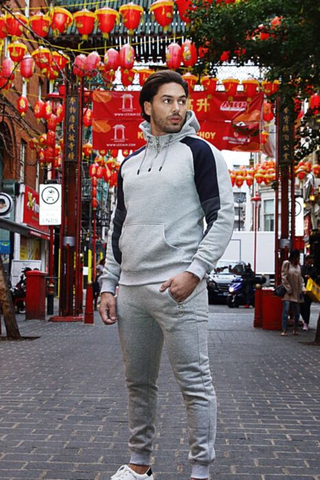 Half Zip Shoulder Panel Tracksuit in Grey