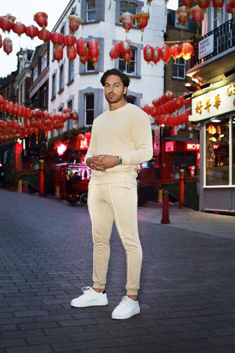 Castell Lux Crewneck Tracksuit in Beige