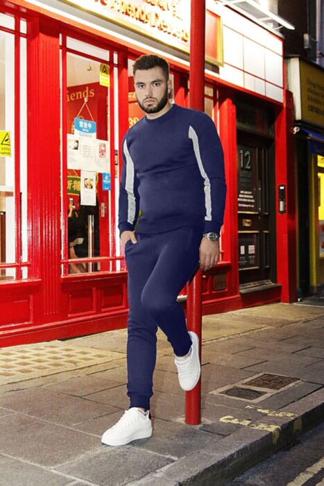 Crewneck with Arm Panel Tracksuit in Navy