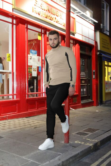 Crewneck with Arm Panel Tracksuit in Beige