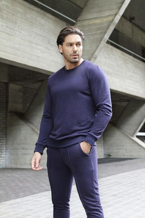 Castell Lux Crewneck Tracksuit in Navy
