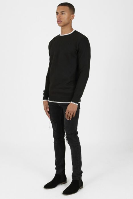 HisColumn Design CrewNeck Ringer Jumper in Black