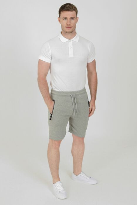 Fleece Shorts with Reflective Zip in Light Grey