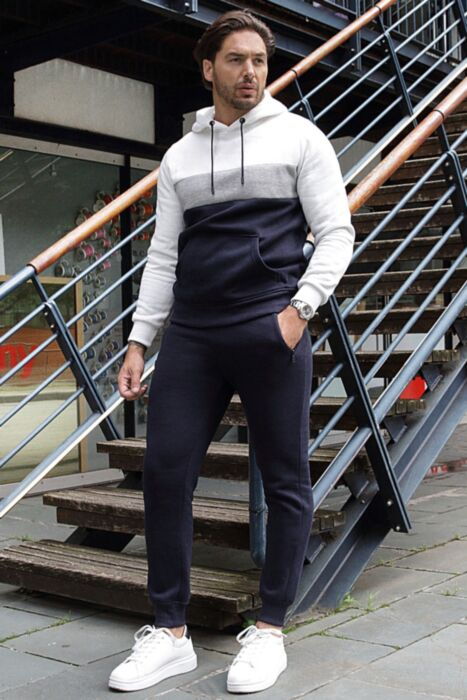 Colour Blocked Hoody Tracksuit in Navy
