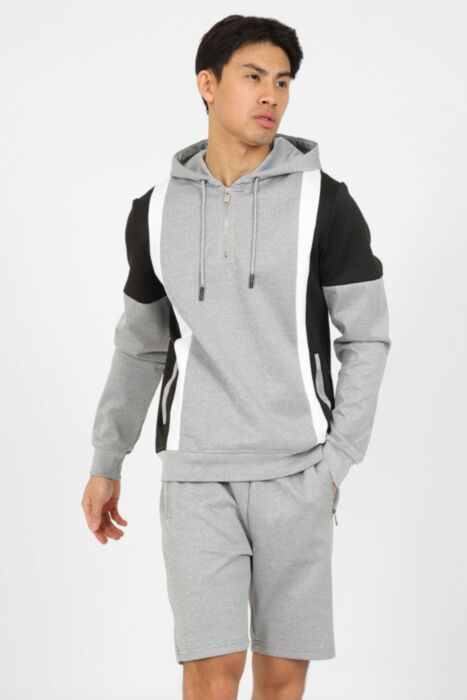 Half Zip Panel Short Set in Grey
