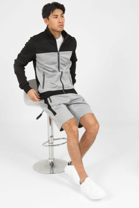 Vigour Short Tracksuit Set in Black
