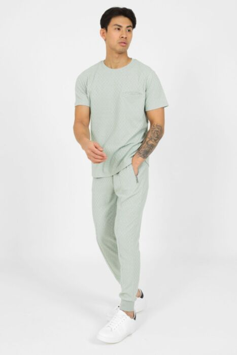 Chequered Zip Artisan Tracksuit in Green