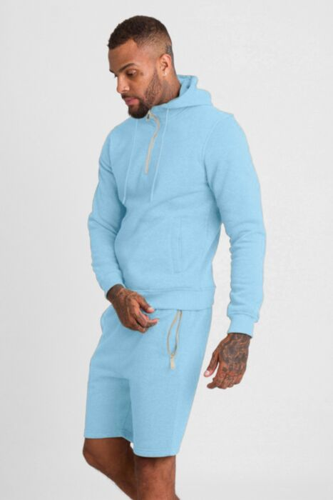 HC Gold Zip Short Tracksuit in Baby Blue