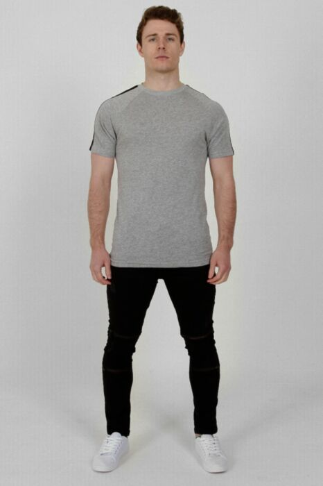 Plain T-Shirt Shoulder Stripe Grey