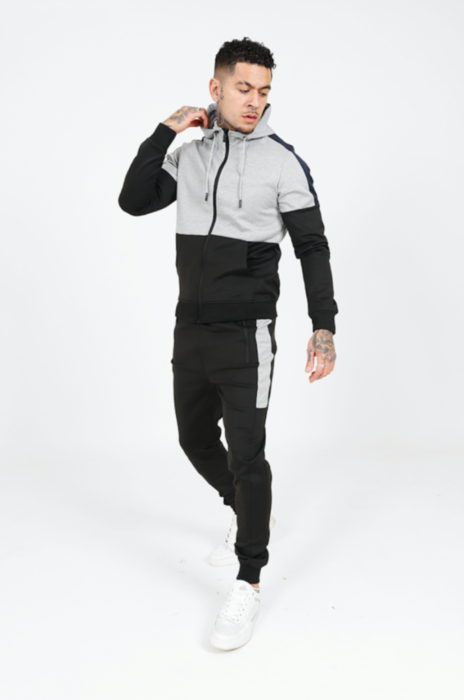 Colour Block Poly Tracksuit in Black