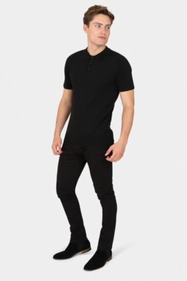 Black Muscle Fit Knitted Polo