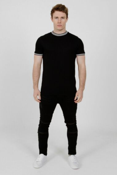 Contrast Tipping T-Shirt Black