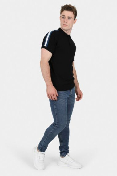 Black Muscle Fit Knitted Polo With Shoulder Stripes