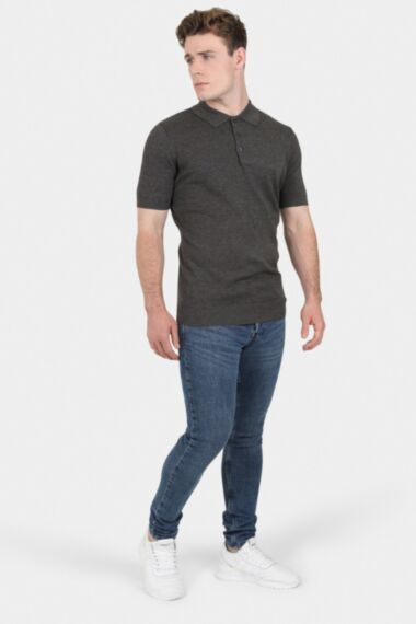 Slate Grey Muscle Fit Knitted Polo
