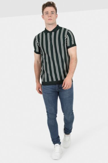 Green Stripe Knitted Polo