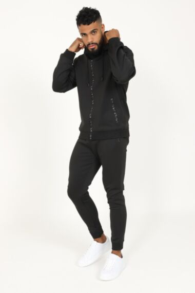 Army Zip Poly Tracksuit in Black
