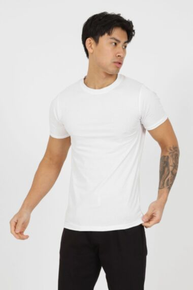 Premium Muscle Fit T-Shirt with Rolled Sleeves in White
