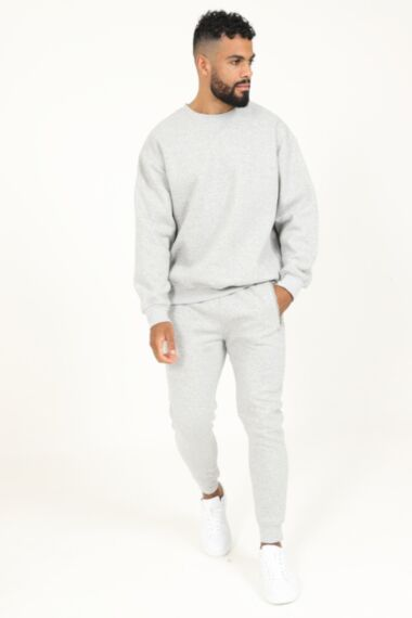 Premium Relaxed Fit Round Neck Tracksuit in Grey