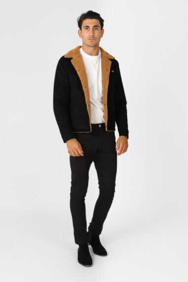 HisColumn Design Soft Cotton Jacket with Borg Lining in Black