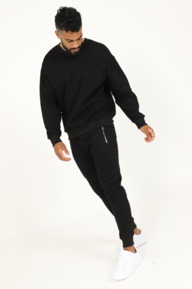 Premium Relaxed Fit Round Neck Tracksuit in Black