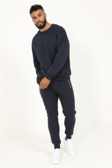 Premium Relaxed Fit Round Neck Tracksuit in Navy
