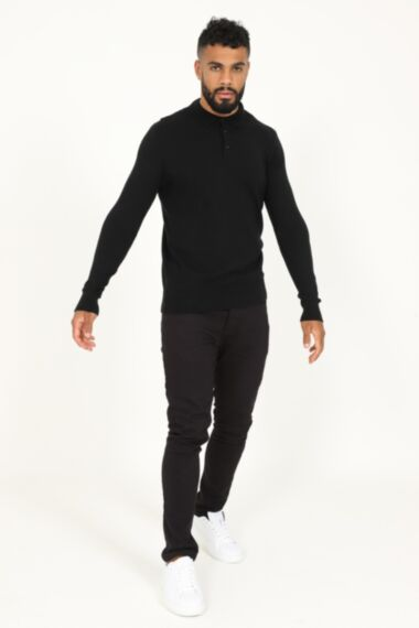 Buttoned Long Sleeve Polo in Black