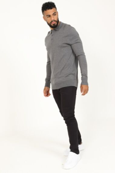 Buttoned Long Sleeve Polo in Grey