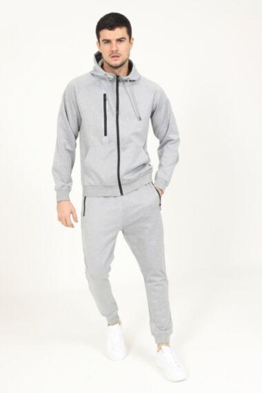 Reflective Chest Zip Poly Tracksuit in Grey