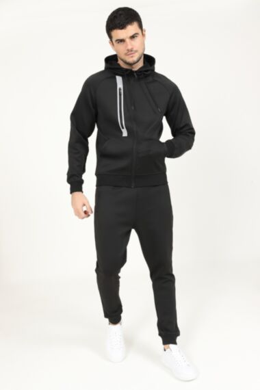 Reflective Chest Zip Poly Tracksuit in Black