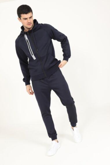 Reflective Chest Zip Poly Tracksuit in Navy